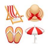 Ícones dos acessórios da praia ajustados ilustração royalty free
