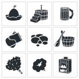 Ícones dos acessórios do banho do vetor ajustados Imagem de Stock Royalty Free