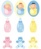 Ícones dos acessórios do bebê ajustados Foto de Stock Royalty Free