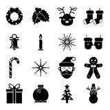 Ícones dos acessórios do Natal dos símbolos do ano novo Fotografia de Stock