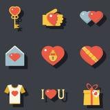 Ícones dos acessórios dos símbolos do dia de Valentim do St ajustados Foto de Stock