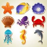 Ícones dos animais de mar Fotos de Stock Royalty Free
