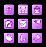 Ícones dos aparelhos electrodomésticos, série roxa do contorno ilustração do vetor