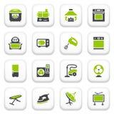 Ícones dos aparelhos eletrodomésticos. Série cinzenta verde. Imagem de Stock