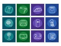 Ícones dos aparelhos eletrodomésticos Vetor liso Imagem de Stock Royalty Free