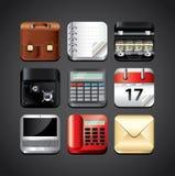 Ícones dos apps do negócio para os dispositivos móveis detalhados Imagens de Stock
