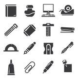 Ícones dos artigos de papelaria Fotografia de Stock