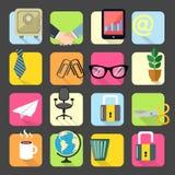 Ícones dos artigos de papelaria do escritório para negócios ajustados Imagens de Stock