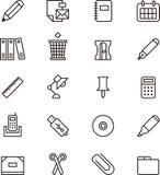 Ícones dos artigos de papelaria e do material de escritório Imagem de Stock