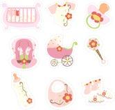 Ícones dos artigos do bebé Fotografia de Stock Royalty Free