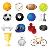 Ícones dos artigos do esporte Fotografia de Stock Royalty Free