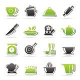 Ícones dos artigos do restaurante e da cozinha Fotos de Stock Royalty Free