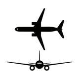 Ícones dos aviões do passageiro isolados no fundo branco Ilustração do vetor Fotos de Stock Royalty Free