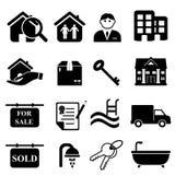 Ícones dos bens imobiliários Fotografia de Stock Royalty Free