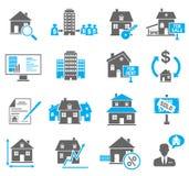 Ícones dos bens imobiliários ajustados Foto de Stock
