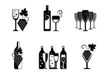 Ícones dos bottels do vinho do vetor Fotografia de Stock Royalty Free