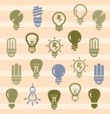 Ícones dos bulbos Fotografia de Stock Royalty Free