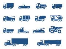 Ícones dos caminhões ajustados Fotografia de Stock