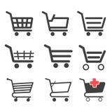 Ícones dos carrinhos de compras Imagens de Stock