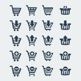 Ícones dos carrinhos de compras do vetor ajustados Imagens de Stock Royalty Free