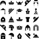 Ícones dos chapéus ilustração royalty free