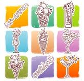 Ícones dos cocktail Fotos de Stock Royalty Free