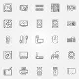 Ícones dos componentes de computador ajustados Imagem de Stock