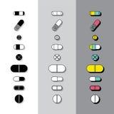 Ícones dos comprimidos Ilustração do Vetor
