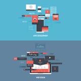 Ícones dos conceitos de projeto para o desenvolvimento e o design web dos apps Fotografia de Stock Royalty Free