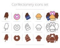 Ícones dos confeitos ajustados ilustração royalty free