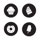 Ícones dos confeitos ajustados preto ilustração royalty free