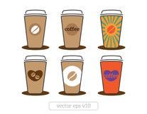 Ícones dos copos de café com feijões de café, coração, projeto liso da ilustração do vetor do texto Imagem de Stock