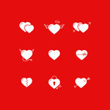 Ícones dos corações ajustados Imagens de Stock