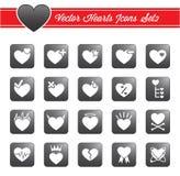Ícones dos corações do vetor Imagens de Stock
