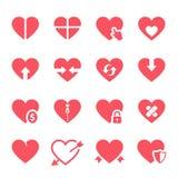 Ícones dos corações do vetor ajustados ilustração stock