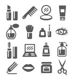 Ícones dos cosméticos ilustração royalty free