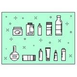 Ícones dos cosméticos ajustados Imagem de Stock