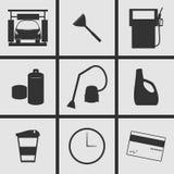 Ícones dos cuidados com o carro Foto de Stock