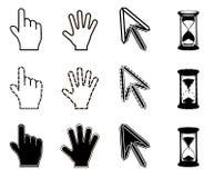 Ícones dos cursores: ampulheta da seta da mão do rato Fotografia de Stock Royalty Free