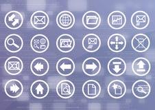 Ícones dos dados de Digitas com fundo binário Foto de Stock Royalty Free