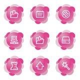 Ícones dos dados, série cor-de-rosa da flor Foto de Stock Royalty Free