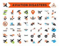 Ícones dos desastres da aviação Foto de Stock