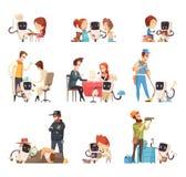 Ícones dos desenhos animados dos assistentes dos robôs ajustados ilustração royalty free