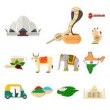 Ícones dos desenhos animados da Índia do país na coleção do grupo para o projeto A Índia e o marco vector a ilustração conservada ilustração royalty free