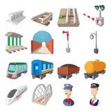 Ícones dos desenhos animados da estrada de ferro Imagem de Stock