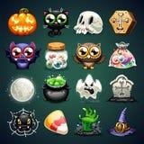 Ícones dos desenhos animados de Dia das Bruxas ajustados Foto de Stock