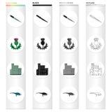 Ícones dos desenhos animados de Escócia do país na coleção do grupo para o projeto Sightseeing, cultura e tradição vector a Web c ilustração royalty free
