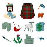 Ícones dos desenhos animados de Escócia do país na coleção do grupo para o projeto Sightseeing, cultura e tradição vector a Web c ilustração do vetor