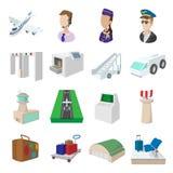 Ícones dos desenhos animados do aeroporto Imagens de Stock