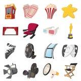 Ícones dos desenhos animados do cinema ajustados ilustração royalty free